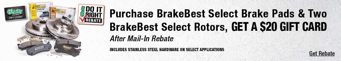 Purchase BrakeBest Select Brake Pads & Two BreakBest Select Rotors, Get A 20$ Gift Card